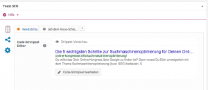 Suchmaschinenoptimierung Code-Schnipsel bearbeiten Screenshot